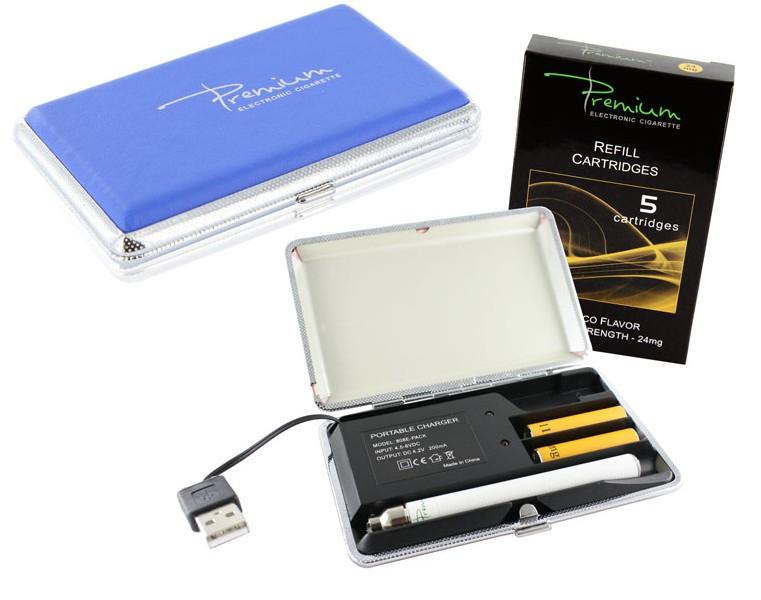 """Premium """"On The Go"""" E-Cigarette Kit in Blue- PCC"""